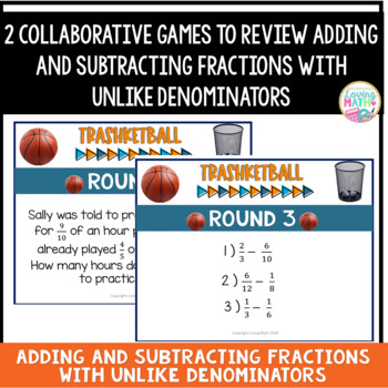 Adding and Subtracting Fractions with Unlike Denominators BUNDLE - TRASHKETBALL