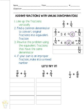 Adding and Subtracting Fractions with Unlike Denominators Guided Math Notes