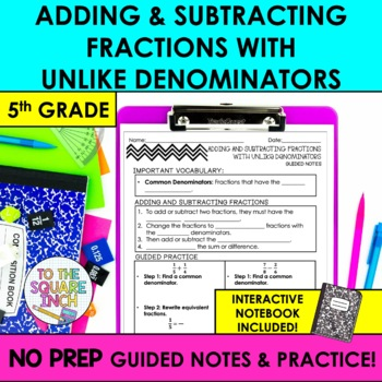 Adding and Subtracting Fractions with Unlike Denominators Notes