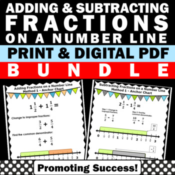 Adding and Subtracting Fractions on a Number Line Worksheets Bundle Unlike  Denom