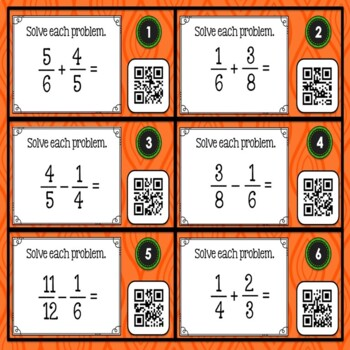Adding and Subtracting Fractions with Unlike Denominators using QR Codes