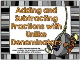 Adding and Subtracting Fractions with Unlike Denominators Scavenger Hunt-Camping