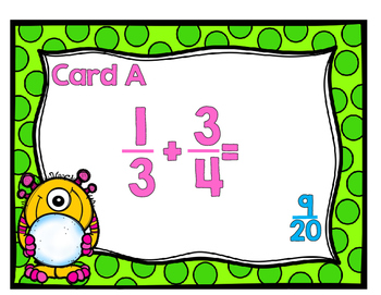 Adding and Subtracting Fractions with Unlike Denominators Scavenger Hunt-Monster