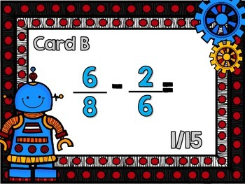 Adding and Subtracting Fractions with Unlike Denominators Scavenger Hunt-Robots