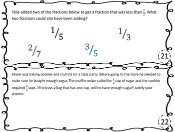 Adding and Subtracting Fractions with Unlike Denominators Task Cards 5.3H