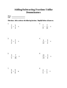 adding and subtracting fractions with unlike denominators worksheet. Black Bedroom Furniture Sets. Home Design Ideas