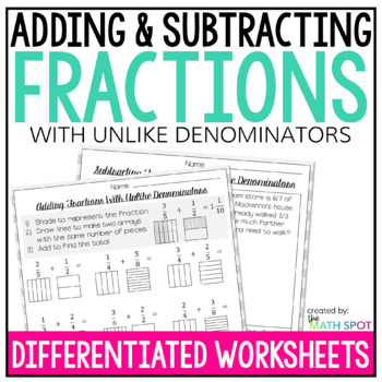 Adding And Subtracting Fractions With Like Denominators Worksheets | TpT