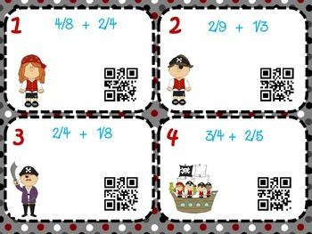 Adding and Subtracting Fractions with Unlike Denominators with QR Codes