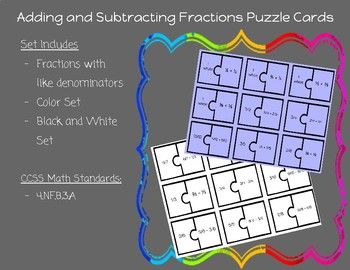 Adding and Subtracting Fractions with like Denominators Puzzle Cards