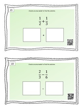 Adding and Subtracting Fractions with unlike denominators Task Cards and QR Code