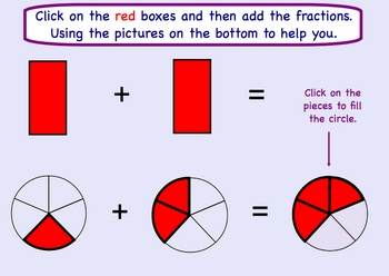 Adding and Subtracting Fractions w/like denominators Smartboard Lesson