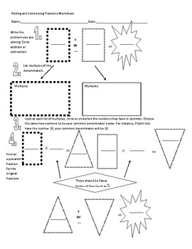 Adding and Subtracting Graphic Organizer