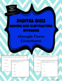 Adding and Subtracting INTEGERS - Google Form Quiz/Lesson - DISTANCE LEARNING