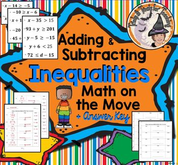 Adding and Subtracting Inequalities Graphing Math Activity Smartboard Stations