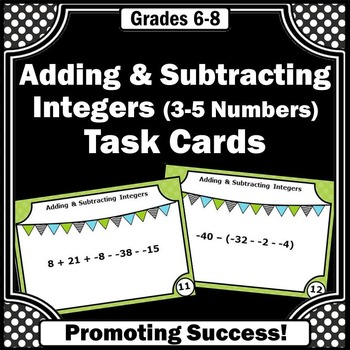 Adding and Subtracting Integers Activities, 6th Grade Math Centers, Integer Game