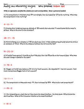 integer word problems worksheet pdf