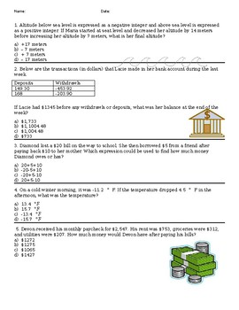 Adding and Subtracting Integer Word Problems