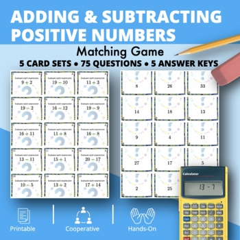 Adding and Subtracting Integers #1 Matching Game