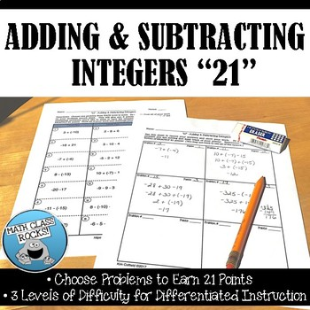 "ADDING AND SUBTRACTING INTEGERS ""21"" FREEBIE!"