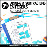Adding and Subtracting Integers: Cut and Paste