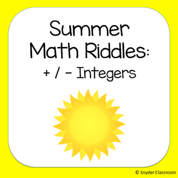 Summer Adding and Subtracting Integers Math Riddles