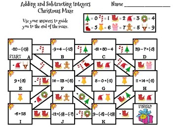 Adding and Subtracting Integers Activity: Christmas Math Maze