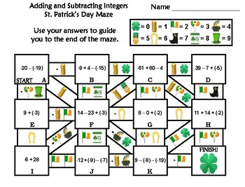 Adding and Subtracting Integers Activity: St. Patrick's Day Math Maze