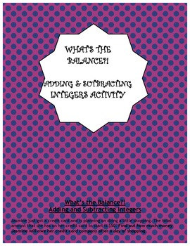 Adding and Subtracting Integers Activity - What's the Balance?