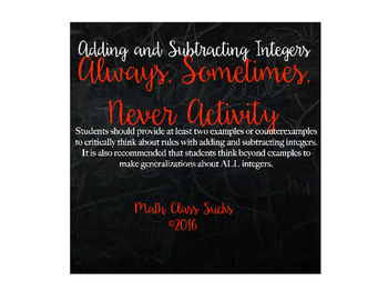 Adding and Subtracting Integers: Always, Sometimes, Never