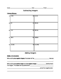 Adding and Subtracting Integers Assignment