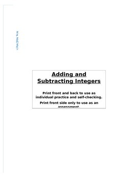 Adding and Subtracting Integers Booklet
