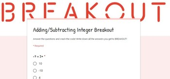 Adding and Subtracting Integers Breakout