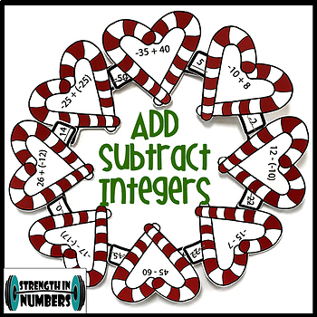 Adding and Subtracting Integers Candy Cane Christmas Wreath