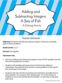 Adding and Subtracting Integers: A Sea of Fish Color by Number