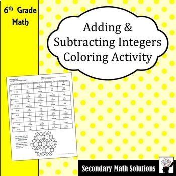 Adding and Subtracting Integers Coloring Activity (6.3D)