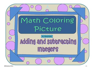 Adding and Subtracting Integers Coloring Picture - Snake