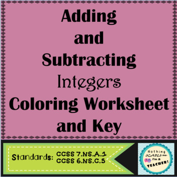Adding and Subtracting Integers Printable Coloring Worksheet