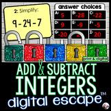 Adding and Subtracting Integers Digital Math Escape Room