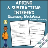 Adding and Subtracting Integers Discovery Worksheets