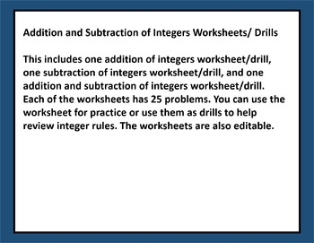 Adding and Subtracting Integers Drills/Worksheet