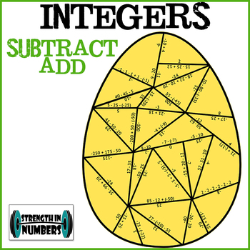 Adding and Subtracting Integers Easter Egg Partner Puzzle
