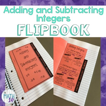 Adding and Subtracting Integers Flipbook