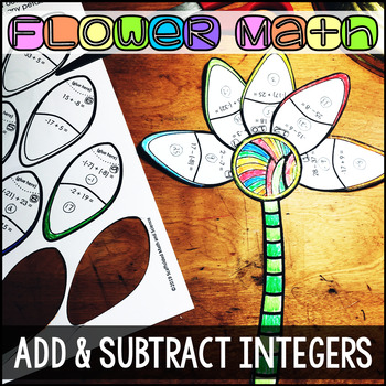 Adding and Subtracting Integers Flower Math Activity