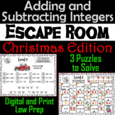 Adding and Subtracting Integers Game: Escape Room Christmas Math Activity