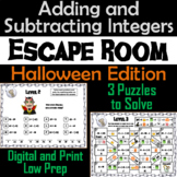 Adding and Subtracting Integers Game: Escape Room Halloween Math Activity