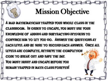 Adding and Subtracting Integers Game: Escape Room Math Activity