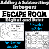 Adding and Subtracting Integers Activity: Escape Room Math Breakout Game 7.NS.1