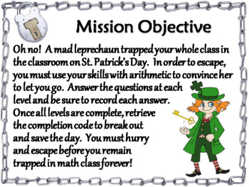Adding and Subtracting Integers Game: Escape Room St Patrick's Day Math Activity