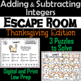 Adding and Subtracting Integers Game: Escape Room Thanksgiving Math Activity