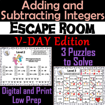 Adding and Subtracting Integers Game: Escape Room Valentine's Day Math Activity